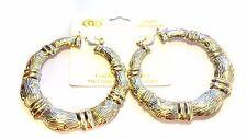 LARGE HOOP EARRINGS BAMBOO HOOP EARRINGS 3 INCH HOOP EARRINGS GOLD PLATED HOOPS