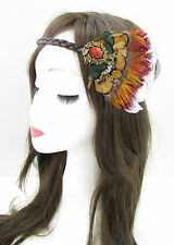 Plume de paon coiffure native american red indian headband pocahontas vtg A90