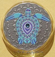 2020 Ghana Turtle Tortoise Silver Coin Mandala Series Antique Finish High Relief