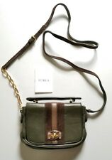 Furla Small Green Leather Crossbody With Brown Suede & Leather Trim