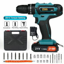 21V Electric Cordless Impact Drill 2-Speed with 6500mAh Li-ion Battery&Bits Set