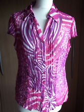 'PER UNA' Pretty Red/Pink Floral Cap Sleeve Blouse Top In A Size 12