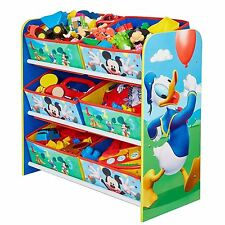 MICKEY MOUSE / DONALD 6 BIN STORAGE UNIT PRINTED FABRIC DRAWERS KIDS FREE P+P