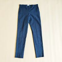 Jigsaw Royal Blue Black Patterned Cigarette Style Leg Trousers Pants Size 10