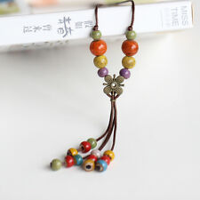 Lovely Otantic String Cord Multi-color Ceramic Bead Pendant Necklace Jewelry UK