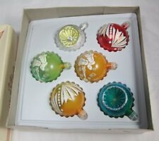 Boxed Set Plastic Christmas Ornaments w/ Glitter Flocking + Reflector Baubles