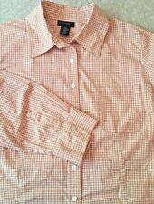 Rafaella  Womens Blouse Top, Pumpkin/orange Gingham Cotton Blend Size 16 W