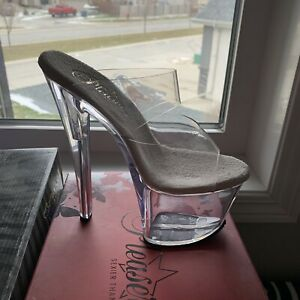 NIB Pleaser Shoes Sky-302 Clear Size 5