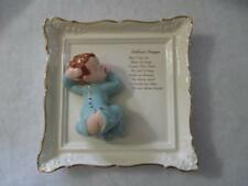 Bedtime Prayer Porcelain Plaque/ Wall Hanging Baby Boy Gold Scalloped Edge