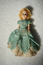 "Vintage 7"" doll Hand Crocheted Dress Real Hair Sweet Collectible"
