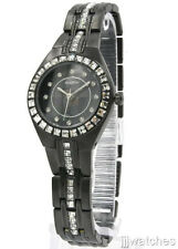 New Elgin Steel Black Crystals Bezel Women Bracelet Watch 26mm EG7056