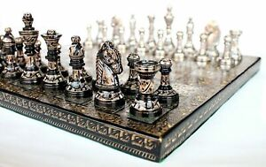 """Collectible Full Brass Chess Set 12"""" hand carved with 100% brass pieces/coins."""