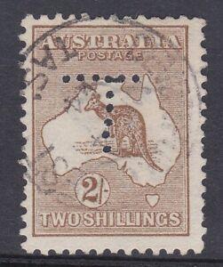 K1338) Australia 1913 2/- Brown 1st wmk. Kangaroo Perf T, rare on this value.