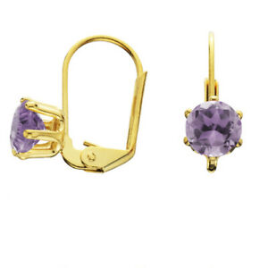 18K Gold OVER 2.00 CT ROUND CUT SIMULATED AMETHYST DROP DANGLE EARRINGS