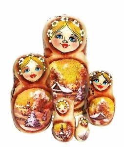 Izba 5 Piece Sepia Russian Landscape Nesting Doll