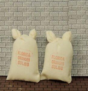 TWO 50 LBS FLORIDA ORANGES SACKS  1:12 Scale MARKET STORE DOLLHOUSE MINIATURE