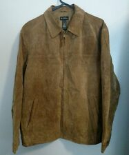 AXCESS MENS BROWN SUEDE BOMBER JACKET POLYESTER LINING SIZE L