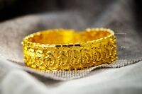 "18k Gold Authentic Dragon Bracelet Mens Bold Wide Style 8 1/4"" Chain +GiftP D568"