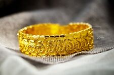 "18k Gold Authentic Dragon Bracelet Mens Bold Wide Style 8 1/4"" Chain GiftP D568"