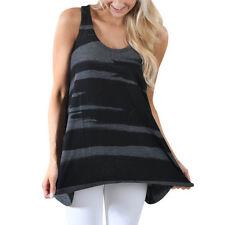 Womens Sleeveless Camouflage Vest Tank Crop Top Shirts T Shirt Blouse Cami Loose Black 4xl