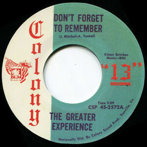 THE GREATER EXPERIENCE DONT FORGET TO REMEMBER Soul Northern Motown
