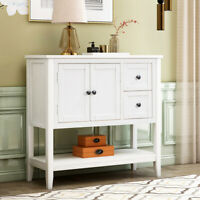 Entryway Wood Console Table Sofa Accent Table w/Cabinet Shelf 2 Drawers White