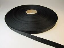 "25 FEET 5/8"" BLACK lightweight Nylon Webbing strap collar belt crafts abt 1mm"