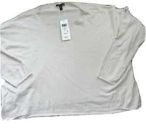 NWT Eileen Fisher Size Small Pink Linen Jewel Neck Box Top $188