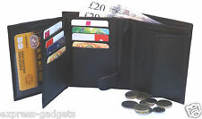 RFID LUXURY SOFT REAL LEATHER WALLET CREDIT CARD HOLDER, CHANGE PURSE 503 BLACK