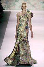 NWT Monique Lhuillier Floral One Shoulder Gown $6,200 Size 6