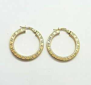 Gorgeous 9ct Yellow Gold Roman Numerals Hoop Earrings 9 K carat UK Seller