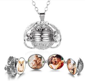 Photo Locket Frames Necklace Women Men Silver Heart Open Pendant Love Gift