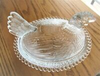 Indiana Glass Clear Vintage Hen on Nest Covered Candy Dish Candlewick Rim