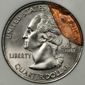2000 ANACS MS65 Struck on Defective Planchet Virginia Quarter Mint Error