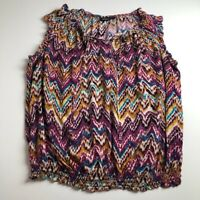 A.N.A. Women's Sleeveless Blouse Top 1X Plus Multi-color Abstract Elastic Waist