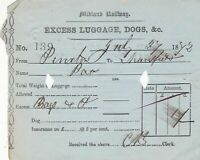 Midland Railway 1872 Excess Luggage Receipt From Pinxton Excess Bags Ref 43002