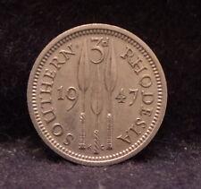 1947 Southern Rhodesia 3 pence, George VI, 1-year type, good grade, KM-16b