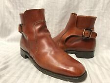 LOAKE Monk Strap Ankle Boots Men's Size 9 Brown Leather Made in England