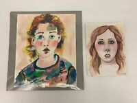 Lot of 2 Signed Unframed Watercolor Woman Girls Portrait Paintings