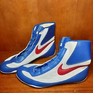 Nike Machomai Oly Mid Boxing Shoes Red White Blue Size 13 EUC