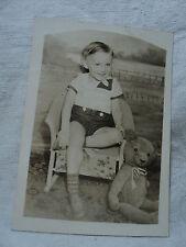vintage photo of 3 1/2 Year Old Boy w LARGE TEDDY BEAR