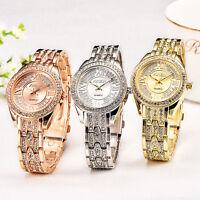 Ladies Women Stainless Steel Crystal Diamonds Analog Quartz Wrist Watches Gift