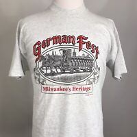 VTG GERMAN FEST MILWAUKEE'S HERITAGE GRAY SINGLE STITCH USA MADE T SHIRT XL