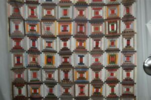 log cabin quilt top 78 x 78 in cotton original 19th hand made unusual 1880
