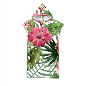 Hooded Bath Swim Beach Towel Poncho Tropical Flower Monstera Toucan Flamingo