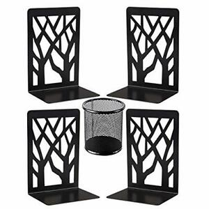 Metal Bookends Decorative Book Ends Black Bookends Supports Non Skid Book Sto...