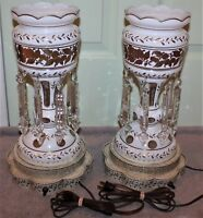 ANTIQUE PAIR OF MOSER HAND PAINTED CUT CRYSTAL LUSTER LAMPS