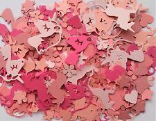 HANDMADE UNICORN PINK CARD PUNCHED TABLE CONFETTI / HEARTS STARS GIRLS PRINCESS