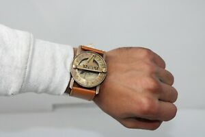 Antique Steampunk Wrist Sundial Compass with Leather Band Hand Wrist Sundial.