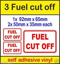 3 Fuel Cut off safety switch stickers reminder Signs self adhesive viny car taxi